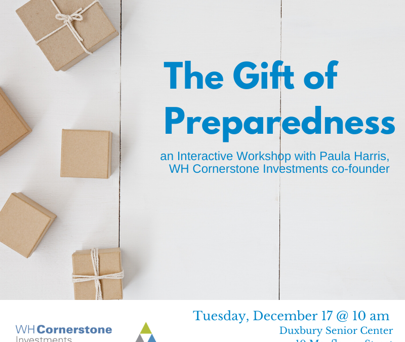 The Gift of Preparedness – an interactive workshop hosted by WH Cornerstone